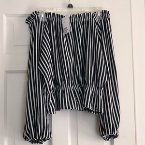 H&M Striped Balloon Sleeve Off-Shoulder Top